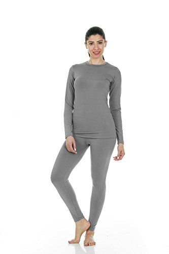 Thermajane Women's Ultra Soft Thermal Underwear Long Johns Set with Fleece Lined (Small, Grey)