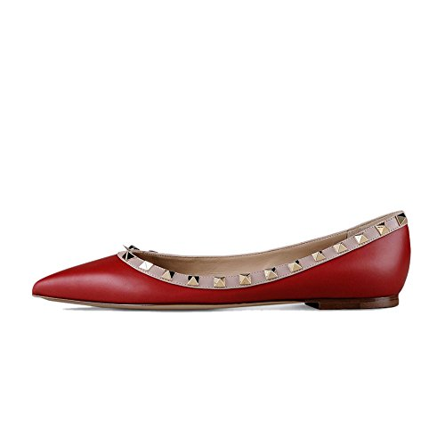 Slip Caitlin Rouge Casual Mat Ballerines Pointu Mocassins on 45 Bout Plat Studded Pan Talons Femmes Plats Chaussures Cloutés 35 q1wUFxcvrq