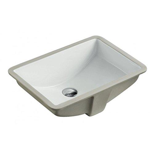 ARIEL RP412PPC 20-7/8 Inch White Ceramic Porcelain Rectangular Shape BathroomVanity Undermount Sink + Pop-up Flow Drain in Chrome - Rectangular Bathroom White Sink