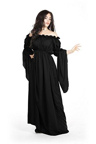 [Medieval Renaissance Costume Celtic Chemise Empire Waist,One Size,Black] (Renaissance Costume Material)