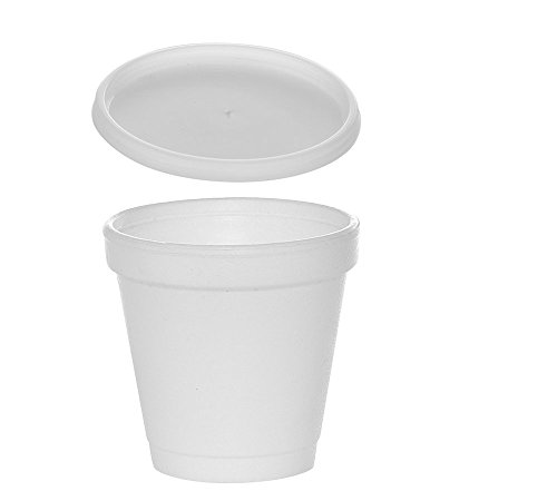 (100 Sets) 4 oz White Foam Cups with Translucent Vented Lids, Disposable Foam Drink Cups, Ideal to go Espresso Shot Cups, Insulated Foam Cups for Hot/Cold Drinks byTezzorio ()