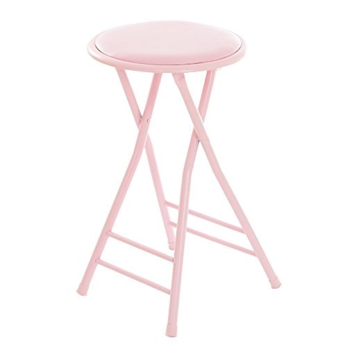 Trademark Home Folding Stool - Heavy Duty 24-Inch Collapsible Padded Round Stool with 300 Pound Limit for Dorm, Rec or Gameroom (Pink) (24 Inch Round Bar Stool)