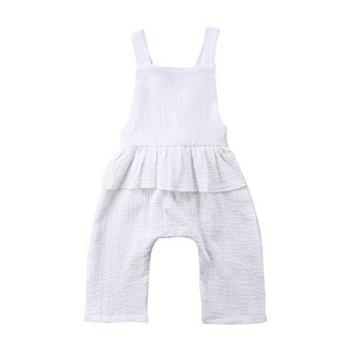 Ruffle Romper Jumpsuit Backless Playsuit Outfit Overalls (White, 2-3 Years) ()