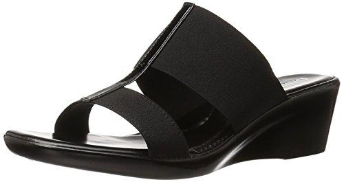 ITALIAN Shoemakers Women's 400m Wedge Sandal, Black, 7 M ()