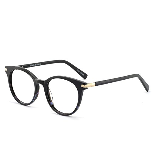 OCCI CHIARI Women's Safety Optical Eyewear Non-prescription Eyeglasses Frame with Clear Lenses (Black+Gold+Blue) ()