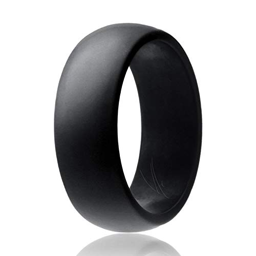ROQ Silicone Wedding Ring for Men Affordable Silicone Rubber Band, Black - Size 10
