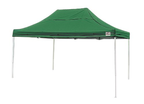 10x15 Straight Leg Pop-up Canopy, Green Cover, Black Roller Bag by ShelterLogic