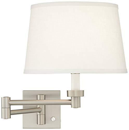 (White Linen Shade Brushed Nickel Swing Arm Wall Lamp - Possini Euro)