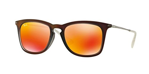 Ray-Ban RB4221F Sunglasses Shot Red Rubber / Brown Mirror Orange - 4221 Ray Ban