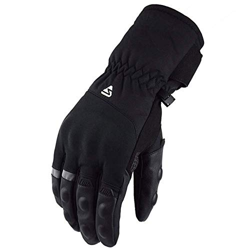 MMPY Protective Equipment Black Gloves Motorcycle Motocross Gloves Leather Ski Protection Gloves (Color : Black, Size : XXL)
