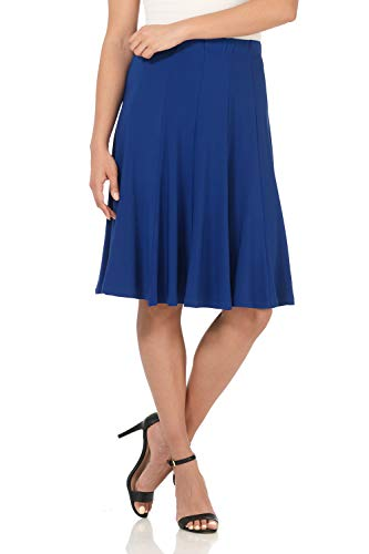 - Rekucci Women's Ease into Comfort Flared Knee Length Knit Skirt (Small,Sapphire)