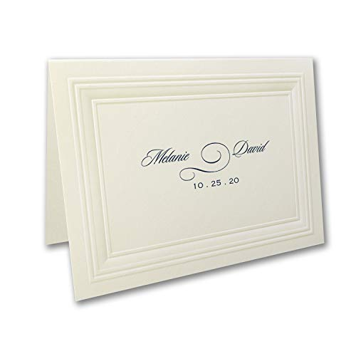 375pk Ecru Embossed Borders - Thank You Note-Thank You Notes