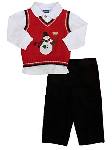 (Holiday Outfit Snowman Sweater Vest Shirt Corduroy Pants 12 Month Great Guy Infant Boy 3 Piece)