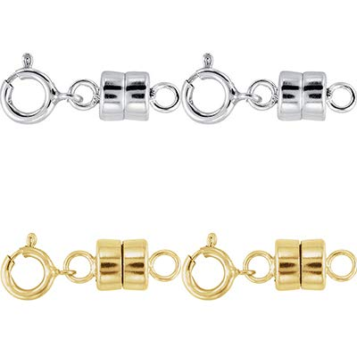 2 - Each New Solid .925 Sterling Silver and 2-14K Yellow Gold Filled Round Magnetic Clasps with Spring Rings for Necklaces, Bracelets, and Anklets - Jewelry By Sweetpea