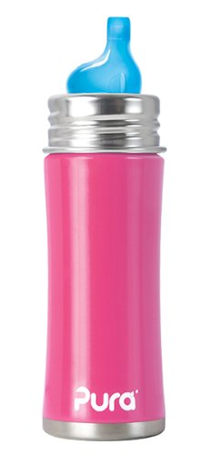 Pura Kiki Stainless Sippy Bottle Stainless Steel with XL Sipper Spout, 11 Ounce, Pretty Pink, 6 Months+