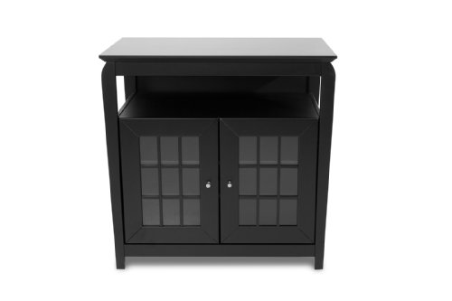 2-Inch Wide Hi-Boy Flat Panel TV Credenza - Black (Tech Craft Wood Finish Tv Stand)