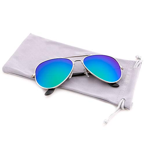 Creamily Kids Aviator Sunglasses UV Protection Glasses Mirrored Lens Eyewear Age 2-9 Boys Girls Outdoor Daily Wear ()