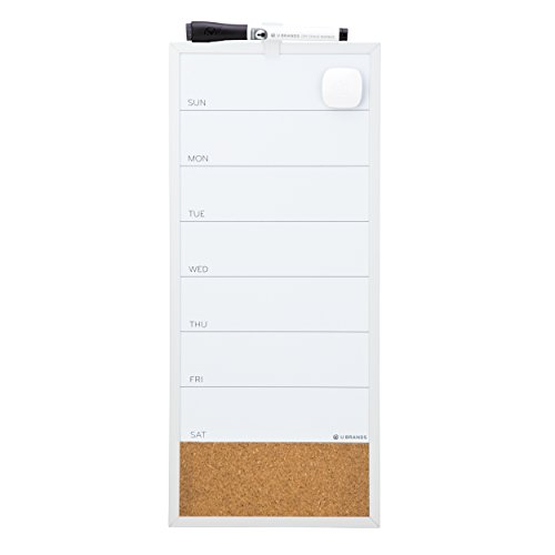 U Brands Magnetic Dry Erase/Cork Weekly Vertical Calendar Board, 16 x 7 Inches, Silver Aluminum (Vertical Weekly Calendar)