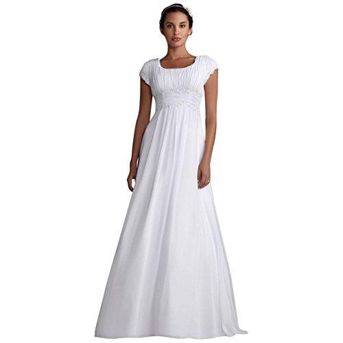 David's Bridal Short Sleeved Empire Waist Chiffon Wedding Dress Style SLV9743, White, ()