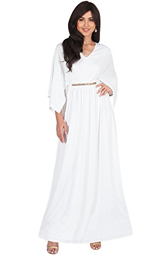 a1c821ddf3e412 KOH KOH Plus Size Womens Long V-Neck Half Batwing Dolman Sleeve Evening  Cocktail Flowy Empire Waist Bridesmaid Formal Kaftan Wedding Guest Gown  Gowns Maxi ...
