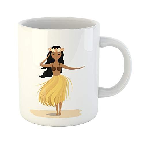 Semtomn Funny Coffee Mug Hawaiian Girl Dancing Hula Cute Polynesian Dancer in Costume 11 Oz Ceramic Coffee Mugs Tea Cup Best Gift Or Souvenir -