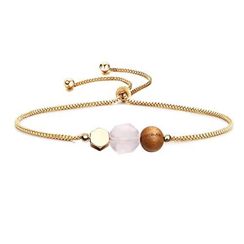 - Adjustable Rose Quartz Bead Bracelet Lava Beads for Essential Oil Bracelet (Rose Quartz & Ceramic Wood Beads)