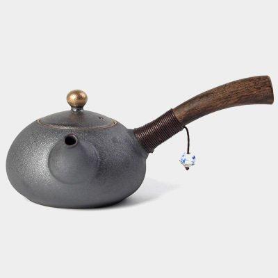 New Design Japanese Style Teapots Ceramic Wood Handle Kung Fu Tea Sets Chinese Porcelain Ceramic Kettle Vintage Tea Service (Black)