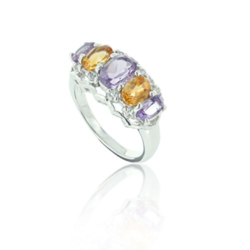 Chuvora Rhodium Plated 925 Sterling Silver Purple Amethyst and Yellow Citrine Gemstone Statement Ring Size 6