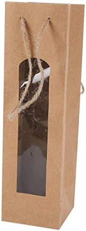 Lote de 20 Bolsas para Botella de Vino Kraft con Ventana 28 x 8 x 8 cm - Estuches, Bolsas para Detalles Originales Invitados de Bautizo, Regalos Comuniones y Recuerdos para Cumpleaños