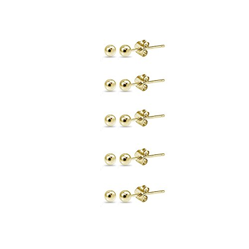 (14K Yellow Gold 2mm Polished Tiny Ball Bead Unisex Stud Earrings, Set of 5 Pairs)