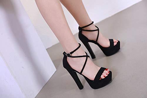 Pour Black Sandales Fengjingyuan Semelles Polyvalent Et Femmes Compensées À Daim Talons Imperméables Hauts S57d7w