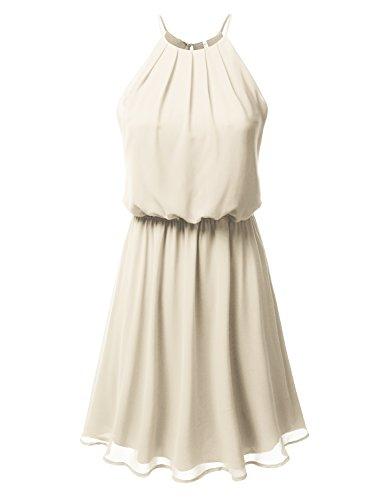(DRESSIS Womens Double Layered Chiffon Mini Tank Dress Taupe 3XL)