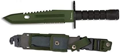 Cuchillo Supervivencia Hoja 19,5 cm para Caza, Pesca, Camping, Outdoor, Supervivencia y Bushcraft Albainox 32445 + Portabotellas de regalo