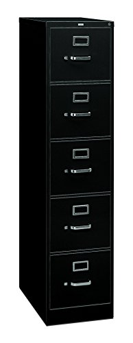 HON 5 Drawer Filing Cabinet - 310 Series Full-Suspension Legal File Cabinet, 26-1/2-Inch Drawers, Black (H315C)