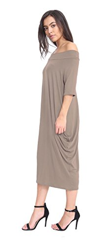 Bardot Size AUS 2 Parachute Midi Ladies Dress Shoulder Mocha 22 Pocket 8 Baggy Off Oversized n4pa4R