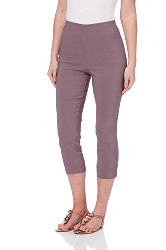 Roman Originals Women Cropped Stretch Capri Trouser Pants - Chocolate 14