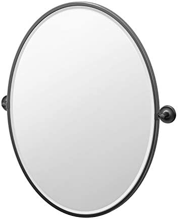 Gatco Desinger II Framed Oval Mirror, 33 Inch, Matte Black