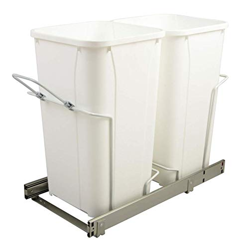 11 in. x 22 in. x 18.75 in. 27 Qt. In-Cabinet Double Soft-Close Bottom-Mount Pull-Out Trash Can- - Series Bottom Professional Mount