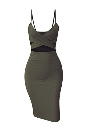 Doramode Sexy Spaghetti Strap V-Neck Cut Out Bandage Bodycon Outfits Cute Midi Clubwear Dress for Women Army Green for $<!--$18.99-->