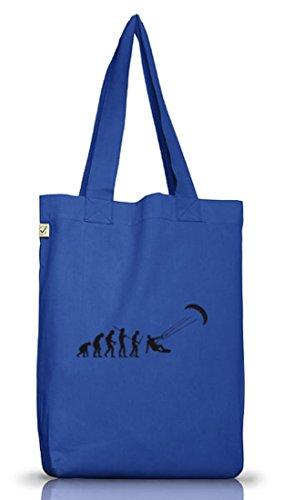 Shirtstreet24, EVOLUTION KITESURFEN, Kitesurfer kiten Jutebeutel Stoff Tasche Earth Positive Bright Blue