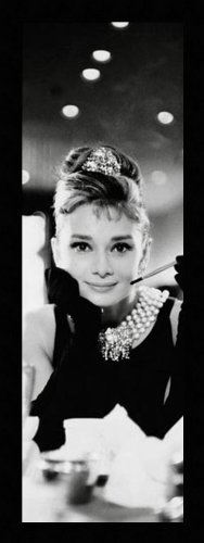 [12x36 Audrey Hepburn BW - Art Print Poster Framed with Black Flat 1.5