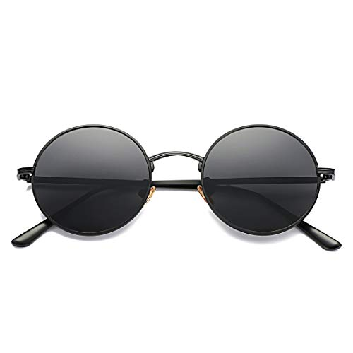 Glasses Black Frame Grey Lens - COASION Vintage Round Metal Sunglasses John Lennon Style Small Unisex Sun Glasses (Black Frame/Grey Lens)