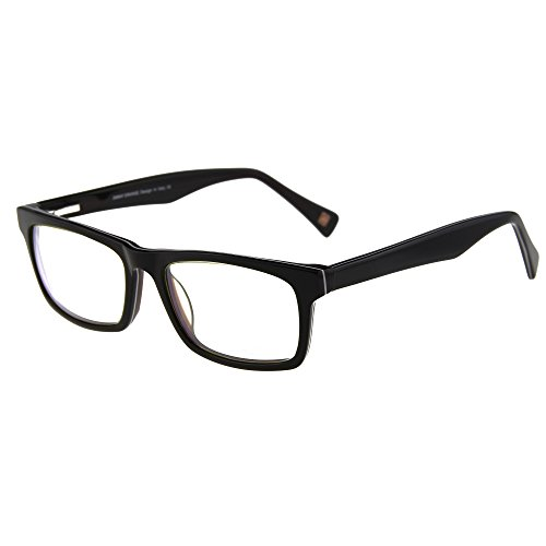 [Jimmy Orange Rectangular Eyeglasses Frame Non-prescription Glasses Clear Lens JO308 BLACK BROWN] (Prescription Colored Contact Lenses)