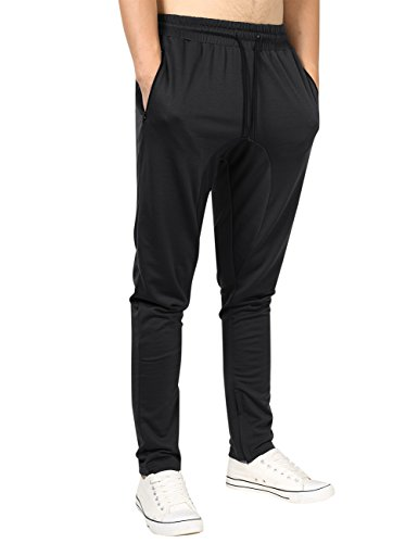 Yong Horse Mens Athletic Zipper Joggers Gym Fitness Trousers Slim Fit Bottoms Sweatpants (L Black) (Zipper Dance)