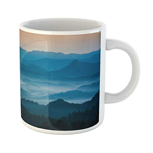 Semtomn Funny Coffee Mug the Mountains Blue Ridge Parkway Welcome Morning Light 11 Oz Ceramic Coffee Mugs Tea Cup Best Gift Or Souvenir -