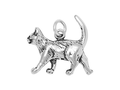 - Raposa Elegance Sterling Silver 3D Walking Cat Charm (approximately 17.5 mm x 22 mm)