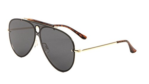 Classic Outdoorsman Floating Flat Lens Aviator Sunglasses w/ Brow Bar (Gold Metallic & Tortoise Frame, - Mens Flat Brow Sunglasses