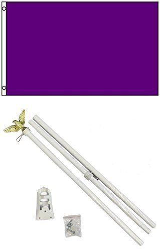 Flag 3x5 Advertising Solid Purple White Pole Kit Set 3'x5' N