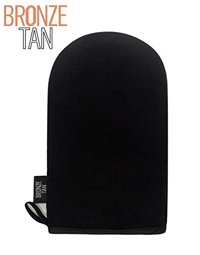 Bronze Tan Velvet Self-Tanning Applicator Mitt For An Even Streak-Free Sunless Tan Protects Hands From Stains When Applying Tanning Lotion- Washable And Reusable- Black