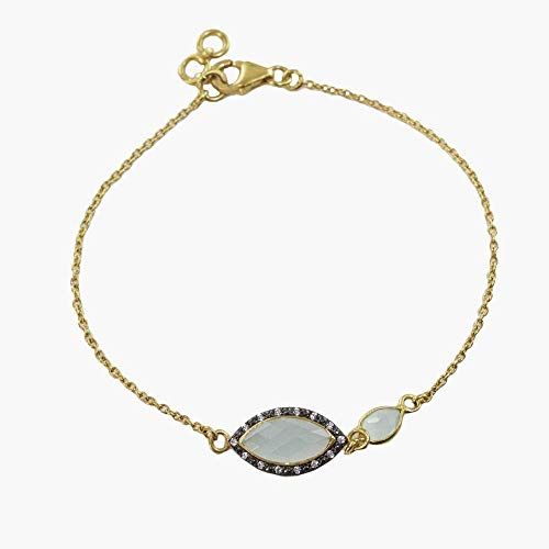 (Sivalya 18K Gold Over Sterling Silver Bracelet with Peruvian Opal and Pave Crystals Bracelet 7